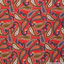 Coton imprimé cachemire 6 cm fond rouge