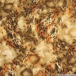 Polyester imprimé serpent et fauve orange fond beige