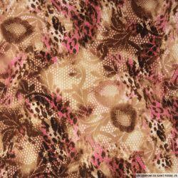 Polyester imprimé serpent et fauve rose fond beige