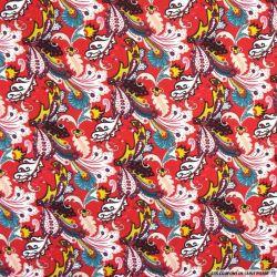 Coton imprimé forêt enchanté fond rouge