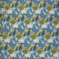 Coton imprimé forêt enchanté fond bleu
