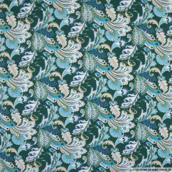 Coton imprimé forêt enchanté fond vert