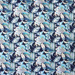 Coton imprimé forêt enchanté turquoise fond marine