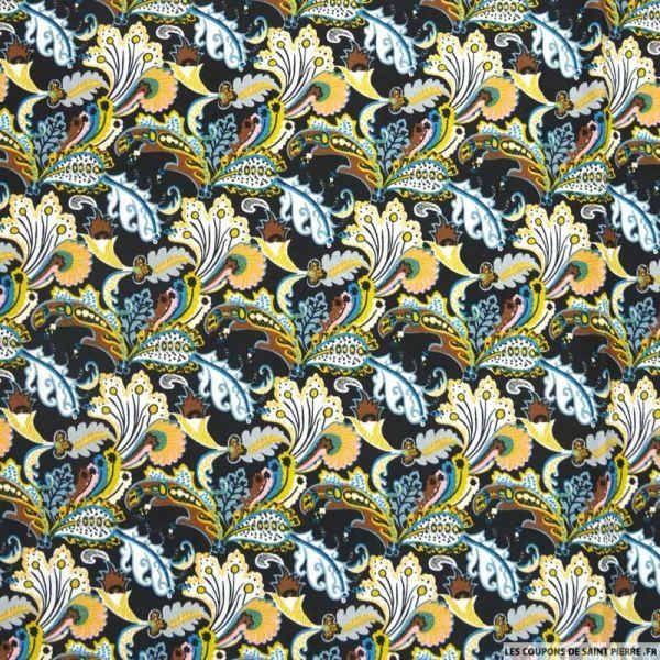 Coton imprimé forêt camel fond noir