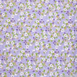 Coton imprimé reine-des-près fond violet