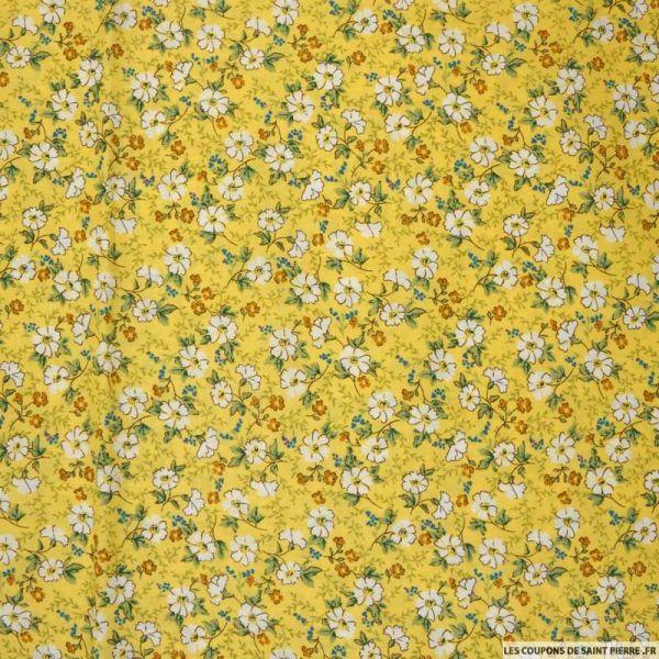 Coton imprimé reine-des-près fond jaune