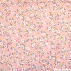 Coton imprimé reine-des-près fond rose
