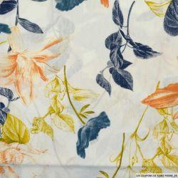 Coton imprimé fleurs d'italie fond blanc