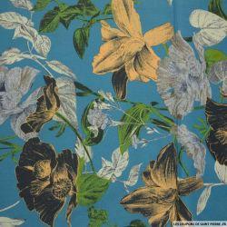 Coton imprimé fleurs d'italie fond bleu