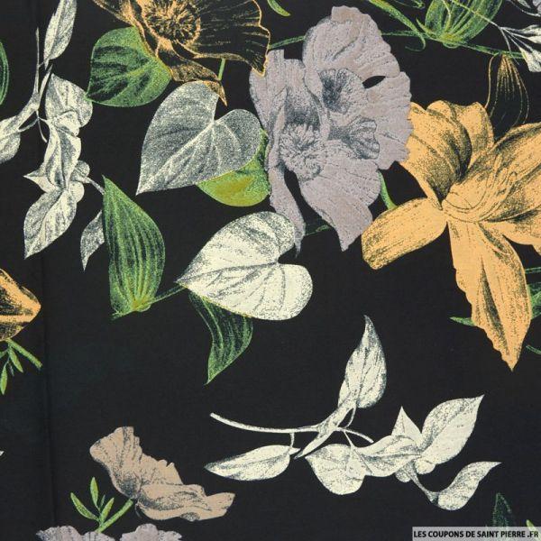 Coton imprimé fleurs d'italie fond noir