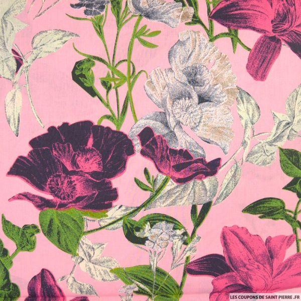 Coton imprimé fleurs d'italie fond rose