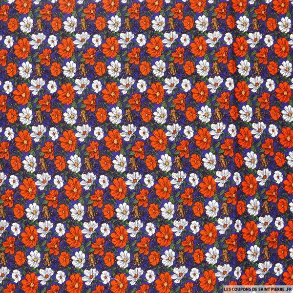 Coton imprimé trios de fleurs rouge et blanc