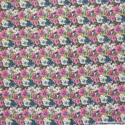 Coton imprimé trios de fleurs rose et blanc