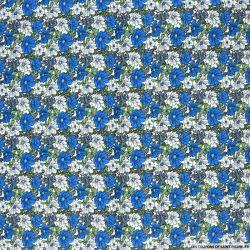 Coton imprimé trios de fleurs blanc et bleu