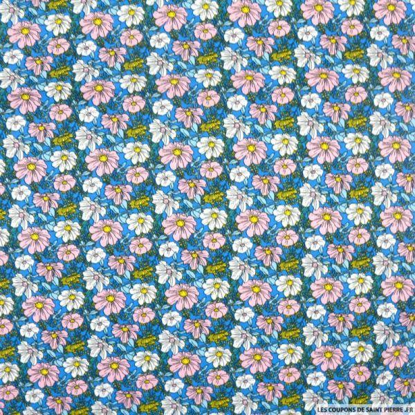 Coton imprimé trios de fleurs rose et bleu