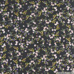 Coton imprimé herbier fond noir