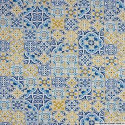 Coton imprimé Lisbonne bleu et camel