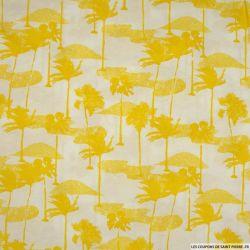 Jersey imprimé l'île-palmier jaune fond blanc