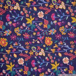 Coton liberty ® Botanist bleu nocturne au mètre