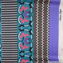 Satin polyester imprimé abondance violet