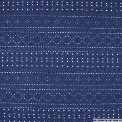Jersey dentelle polyester bleu nuit