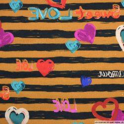 Maille imprimée rayée noir et marron coeur multicolore