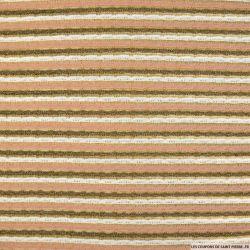 Maille rayée rose et blanc fond beige irisée cuivre