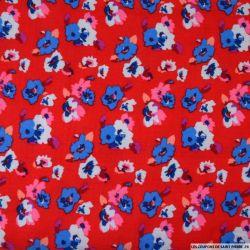 Double gaze imprimée Flower power rouge