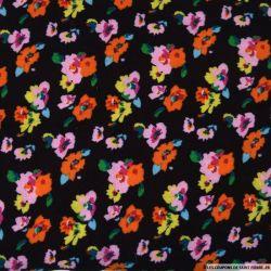 Double gaze imprimée Flower power noir