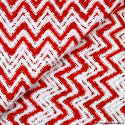 Dentelle polyester vagues rouge et blanc