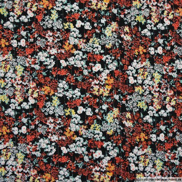 Crépon viscose réunion florale fond noir
