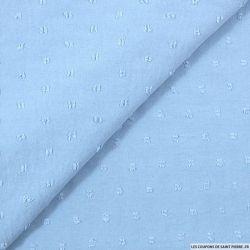 Crêpe polyester plumetis bleu ciel