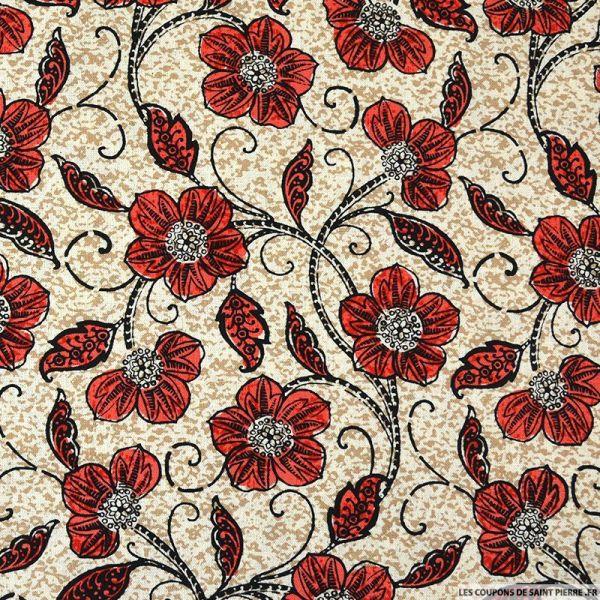 Lin viscose imprimé fleurs rouge