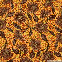 Lin viscose imprimé fleurs fond jaune
