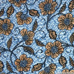 Lin viscose imprimé fleurs fond bleu