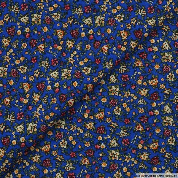 Coton imprimé en liberté fond bleu