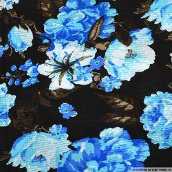 Viscose imprimée rosier bleu fond noir