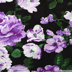 Viscose imprimée rosier violet fond noir