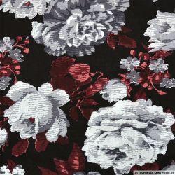 Viscose imprimée rosier vieux rose fond noir