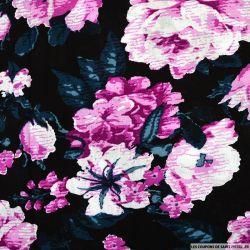 Viscose imprimée rosier fuchsia fond noir