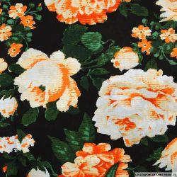 Viscose imprimée rosier orange fond noir