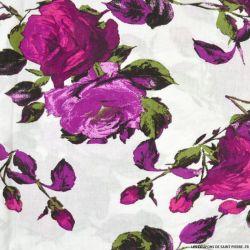 Viscose imprimée Victoria magenta fond blanc
