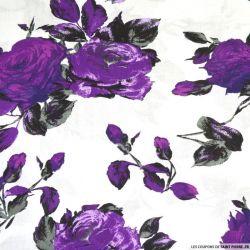 Viscose imprimée Victoria violet fond blanc