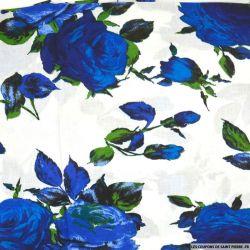 Viscose imprimée Victoria bleu fond blanc
