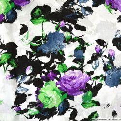 Viscose imprimée Romane vert et violet