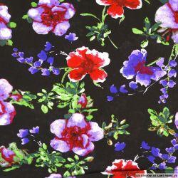 Viscose imprimée Amelia rouge,violet et vert fond noir