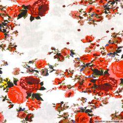 Viscose imprimée Charlotte rouge fond blanc