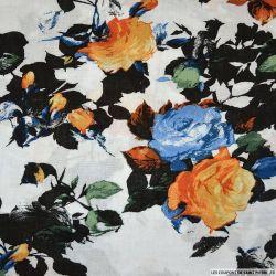 Viscose imprimée Romane orange et bleu