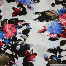 Viscose imprimée Romane rouge et bleu