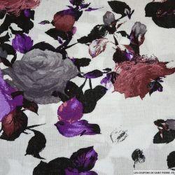 Viscose imprimée Romane violet et gris